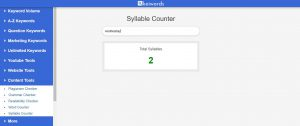 syllable counter working